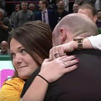 Woman Sinks Half-Court Shot, Wins $500 and Gets a Surprise Marriage Proposal From Dunkin' Donuts Mascot